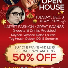 Leawood Family Eye Care Holiday Open House: Tuesday, December 3, 10 am – 7 pm.