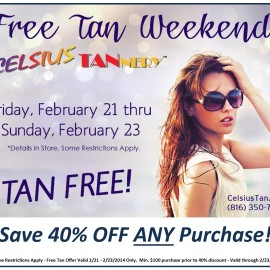 Free Tan Weekend at Celsius Tannery!
